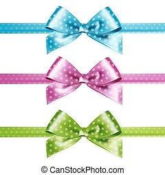 arcos, aislado, conjunto, puntos, azul, rosa, verde, photorealistic, seda, polca