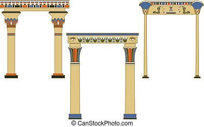 arcos, antiguo, conjunto, egipcio