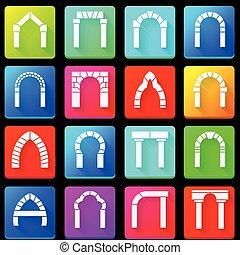 arcos, colorido, cobrança, ícones