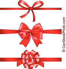 arcos, fitas, cobrança, presente, vermelho