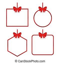 arcos, fitas, presente, bonito, jogo, vetorial, vermelho, cartões