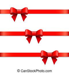 arcos, horizontais, fita, decoração, decorativo, isolado, jogo, white., presente, vetorial, arco, vermelho