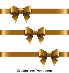 arcos, horizontais, fita, ouro, decorativo, decoração, isolado, jogo, white., presente, vetorial, dourado, arco