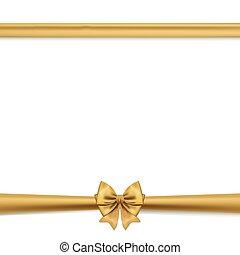 arcos, horizontais, fita, ouro, decorativo, isolado, jogo, white., presente, vetorial, dourado, arco, decor.