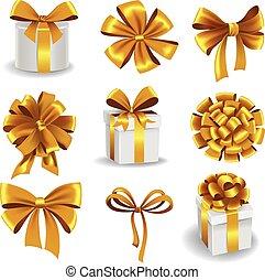 arcos, jogo, presente, ouro, ribbons.