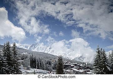 arcos les, alpes francês, refúgio esqui, e, montanhas, em, frança
