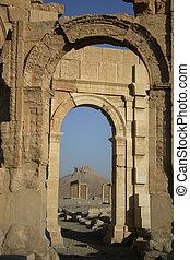 arcos, pilares, e, castelo, de, ruínas, em, palmyria, syria.