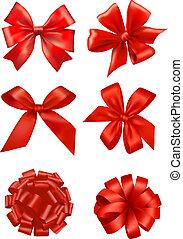 arcos, ribbons., jogo, presente, vector., vermelho, grande