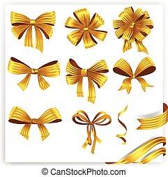 arcos, ribbons., ouro, jogo, presente