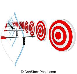 arcos, setas, competição, apontar, bulls-eyes