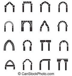 arcos, vetorial, pretas, cobrança, ícones