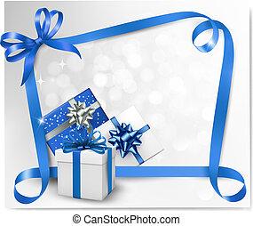 arcs, bleu, ribbons., fond, vacances, cadeau, vecteur, illustration.