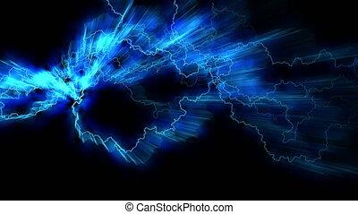 arcs., fields., électrique, crackling., blue., électricité, résumé, seamless, éclair, réaliste, strikes.electric, fond, looping., magnétique