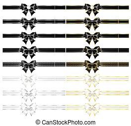 arcs, rubans, blanc, réaliste, noir