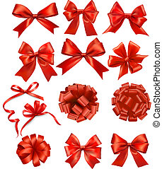 arcs, rubans, ensemble, cadeau, vecteur, rouges, grand