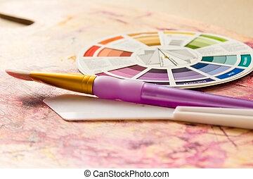 arcszín, gördít, és, festmény, segédszervek