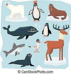Arctic and Antarctic Animals, Fish Set - Vector set of...