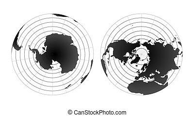 Arctic and antarctic poles globe hemispheres. World map view...