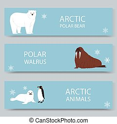 Arctic animals and north pole cartoon banners set, vector ...