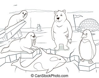 Arctic animals coloring book educational game for kids...