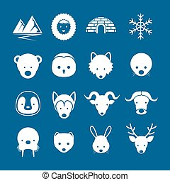 Arctic Animals Flat Icons Mono Color Set - Winter, Nature...