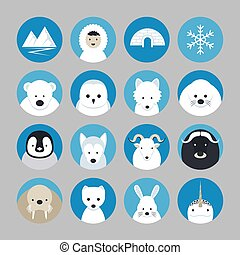 Arctic Animals Flat Icons Set - Winter, Nature Travel and...