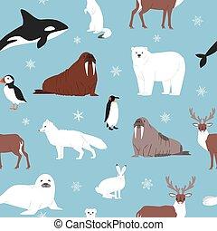 Arctic animals seamless pattern. Vector cartoon illustration...