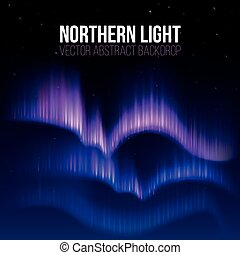 Arctic aurora, northern lights in polaris alaska vector...