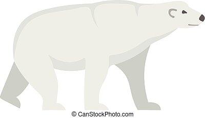 Arctic bear icon, flat style