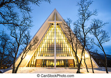 Arctic Cathedral Church in Tromso Norway at dusk twilight