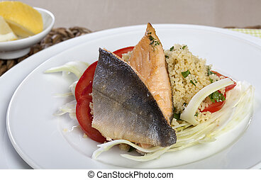 Arctic Char on Couscous and Fennel - Grilled Arctic Char on...