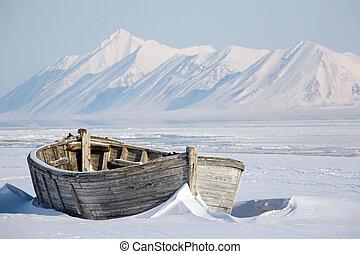 Arctic, frozen old wooden boat
