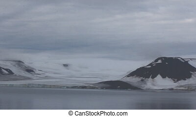 Arctic glaciers and destruction of ice mountains.