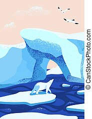 Arctic ice landscape flat vector illustration. Melting glaciers. Iceberg, snow mountains hills, winter nature beauty. Polar bear cartoon character standing on ice floe and looking at birds.