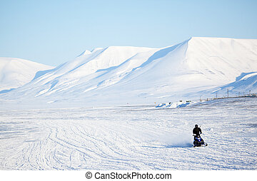 Arctic Landscape - An arctic landscape with a snowmobile in...