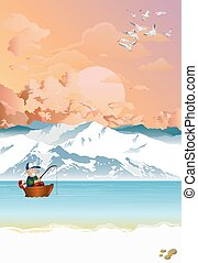 Arctic landscape with fisherman in boat at dawn