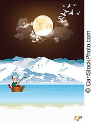 Arctic landscape with fisherman in boat at night