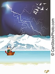 Arctic landscape with fisherman in boat