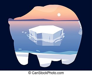 arctic landscape with silhouette of polar bear
