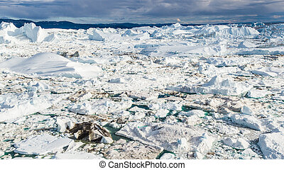 Arctic nature landscape with icebergs in Greenland icefjord - aerial drone image