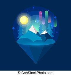Arctic Northern lights . Nature. Vector illustration on dark background
