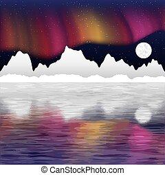 Arctic pole vector landscape with aurora