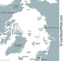 Arctic region political map