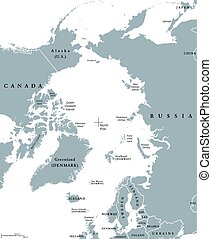Arctic region single states and North Pole political map....