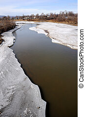 Arctic River thawing during Spring Breakup