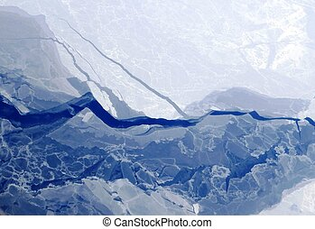 Arctic sea ice melting in April - Slabs of melting and...