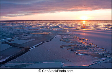 Arctic silence - Evening sunset in the Arctic Sea