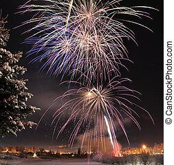 Arctic Solstice Fireworks