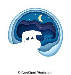 Arctic, vector illustration in paper art style