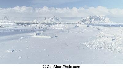 Arctic vernadsky base aerial zoom in view - Antarctica...